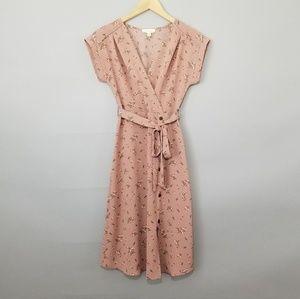 Monteau Blush Pink Floral Button Front Midi Dress